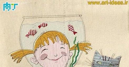 تلفیق هنر تکه دوزی و نقاشی روی پارچه