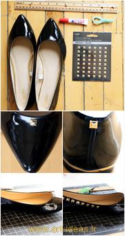 تزیین کفش و صندل با مهره و سنگ و منجوق