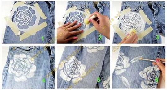 آموزش نقاشی روی شلوار جین