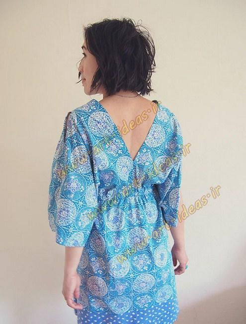 آموزش دوخت لباس بارداری آستین کیمونو به ساده ترین روش و بدون الگو