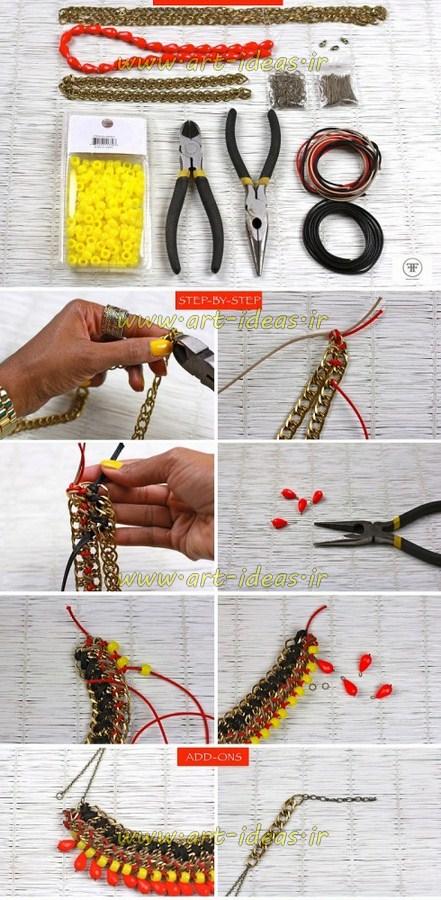 آموزش ساخت گردنبند با زنجیر و مهره
