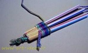 آموزش ساخت دستبند با نی و کاموا