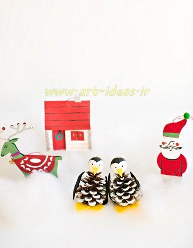 ساخت پنگوئن با میوه کاج