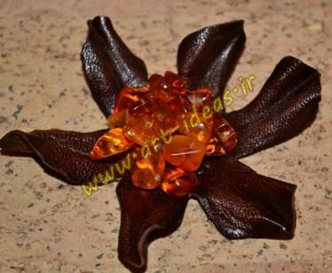 آموزش ساخت گل تزیینی با تکه های چرم