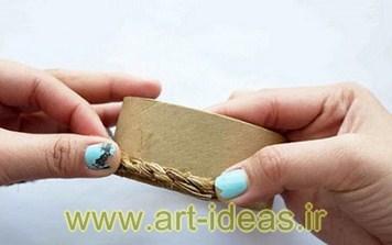 آموزش ساخت جاشمعی با نخ کنفی و چسب کارتن