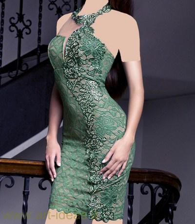 مدل لباس مجلسی کوتاه رنگ سبز گیپوری