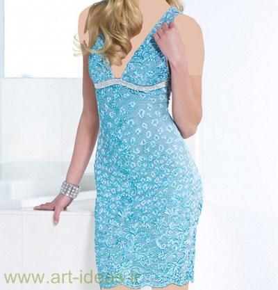 مدل لباس مجلسی کوتاه آبی رنگ