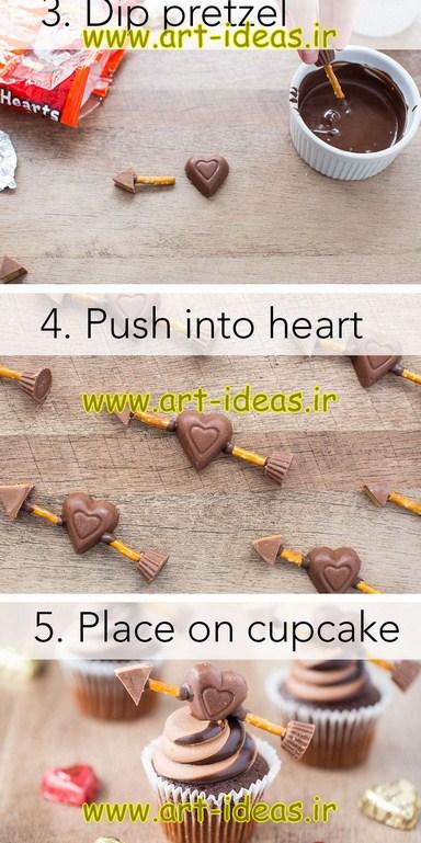 آموزش تزیین کاپ کیک روز عشق به شکل قلب
