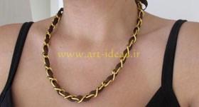 آموزش گردنبند با روبان و زنجیر