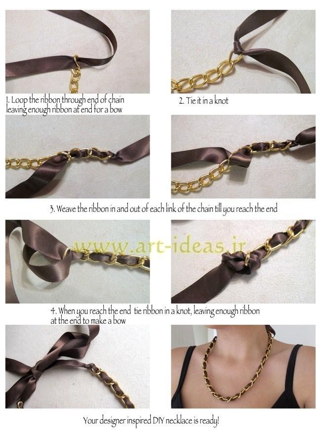آموزش ساخت گردنبند با روبان و زنجیر