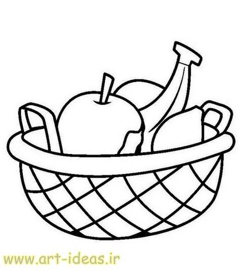 نقاشی سبد میوه برای انواع هنرهای دستی