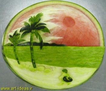 نقاشی روی پوست هندوانه