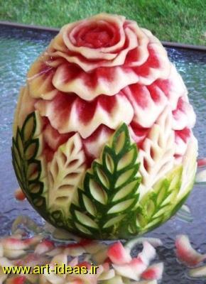 تزیین هندوانه به شکل گل رز