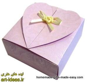 آموزش جعبه کادو به شکل قلب با الگو