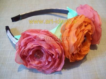 تزیین تل با گل رز پارچه ایی