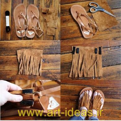 تزیین کفش و صندل های ساده